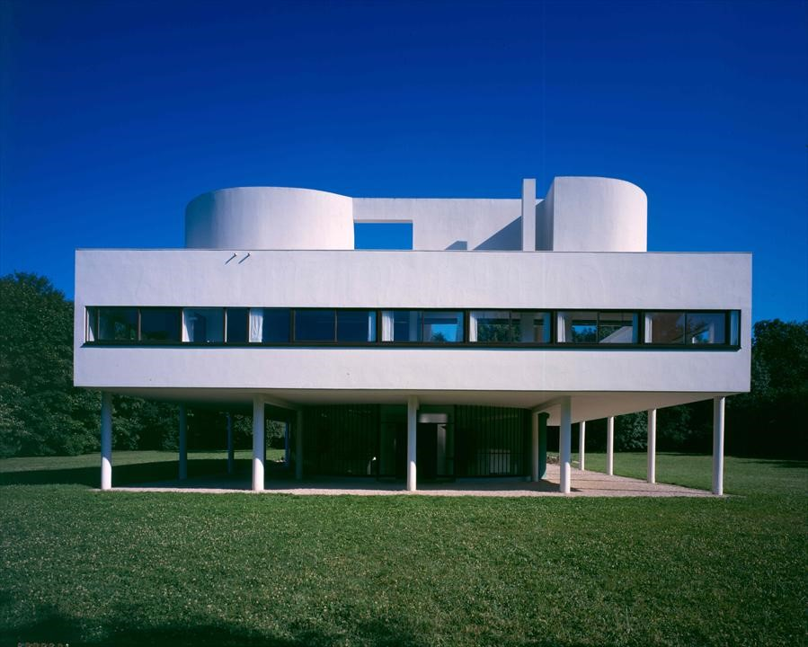 Le Corbusier's famed Villa Savoye eschews historical references and ornamentation in favor of clean, geometric lines