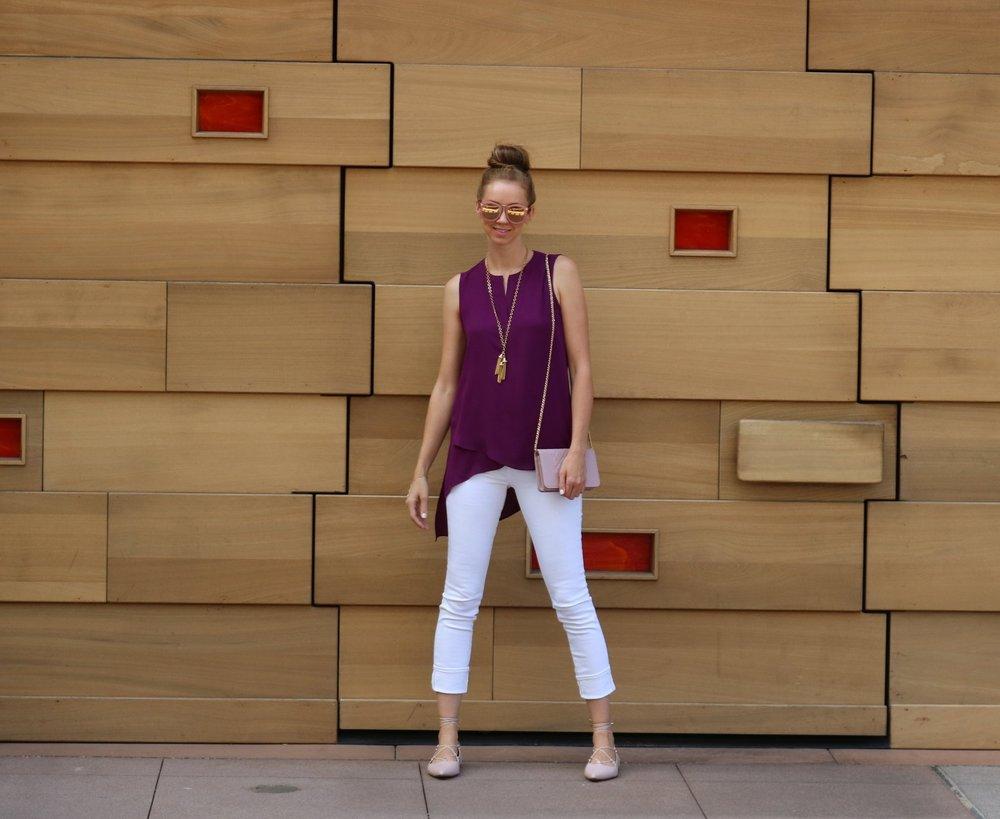 PLEIONE-purple-top-AG-cigarette-white-jeans-street-style