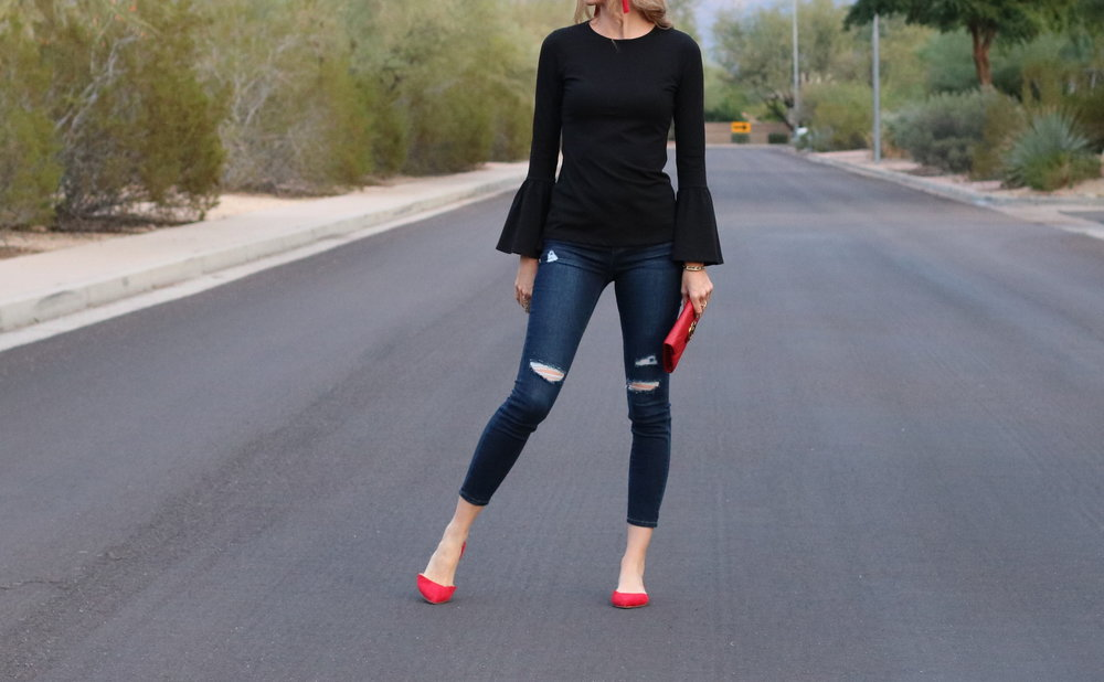 black-bell-sleeve-top-womens-red-flat-shoes.jpg