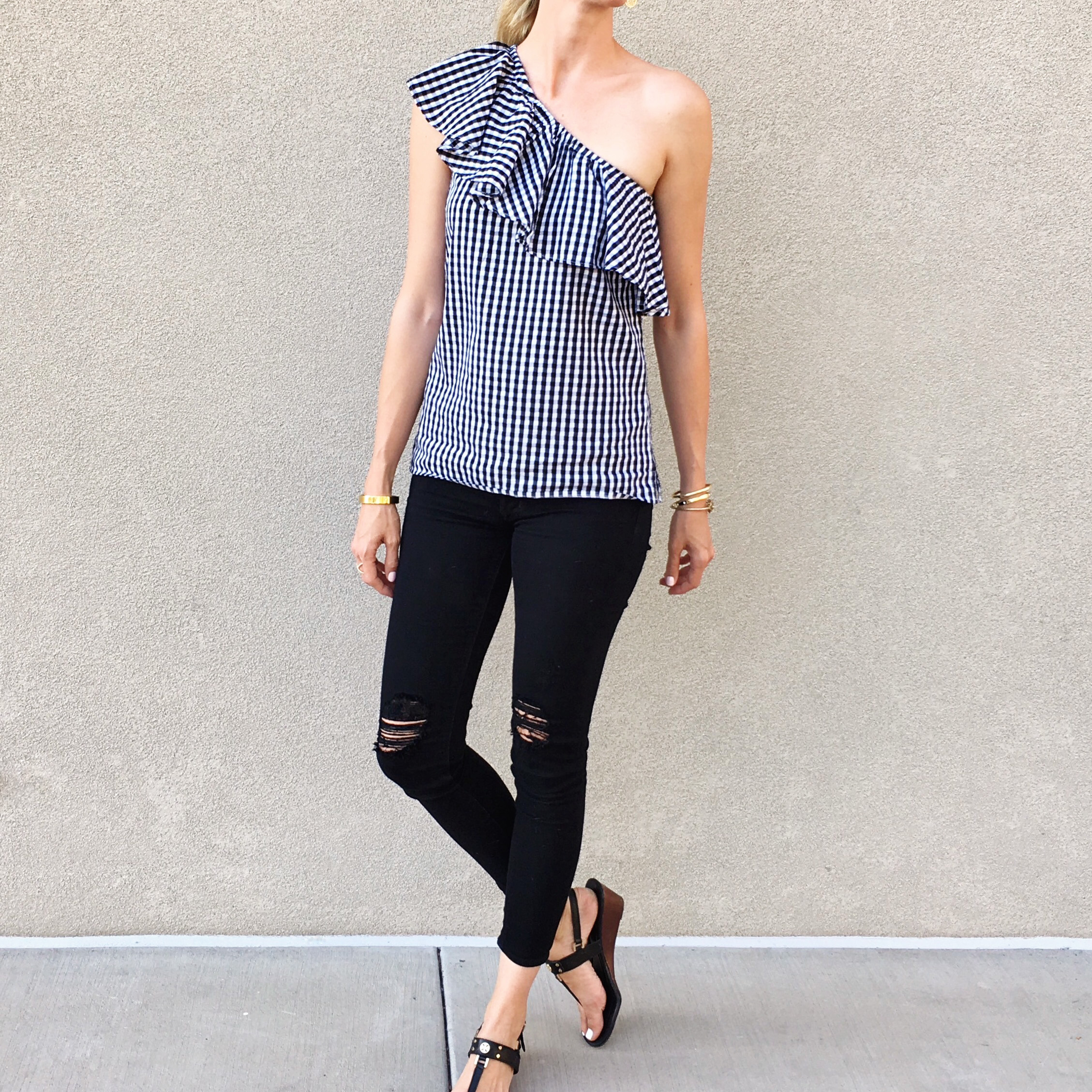 5209c69cbc2 One Shoulder Gingham Tops — With Love and Style