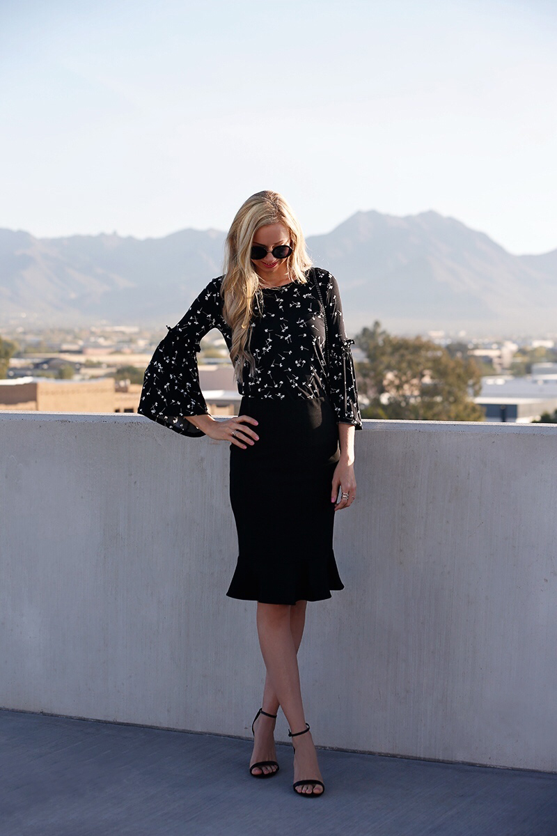 cece-black-fitted-skirt-ditsy-bell-sleeve-top.jpg