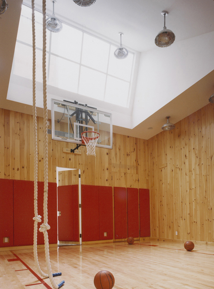 Private basketball court and gym