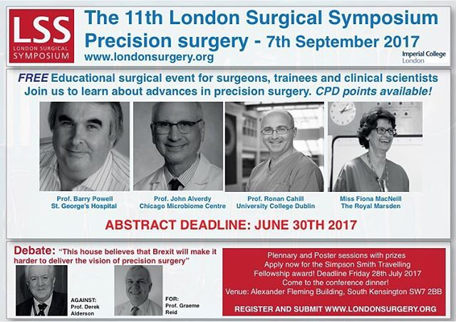Deadline for abstracts for #LSS2017 is this Friday! Submit and visit London to hear about the latest in surgical innovation. It's a FREE educational event, what is not to like?  #surgery #generalsurgery #endoscopy #medschool #medstudent #surgicalresident #colorectalsurgery #vascularsurgery #breastsurgery #hepatobiliary #MD #innovation #science #chirugie #operatingroom #nurse #hospital #coloncancer