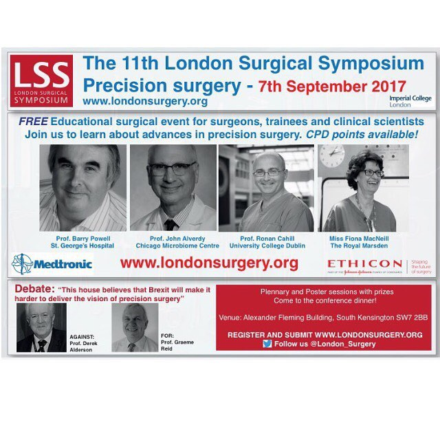 Join us at @imperialcollege on September 7th 2017 for #LSS2017. Hear an outstanding panel of international speakers talk on #precisionsurgery. We have over 70 scientific abstracts, prizes and CPD points. You would have to be mad to miss it! #surgery #colorectalsurgery #breastsurgery #breastcancer #melanoma #chirugie #medicine #medschool #vascular #science #innovation #brexit @imperialnhs