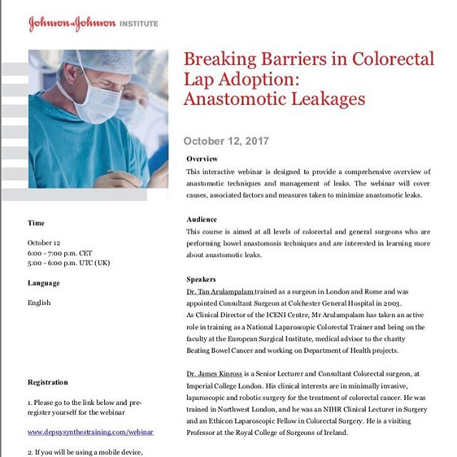 Join us tonight to talk about the most feared complication in #colorectalsurgeryhttps://www.depuysynthestraining.com/webinar #surgery #training #innovation #medicine #MD #FRCS #surgeryresident #health #chirugie #surgeon #surgeons