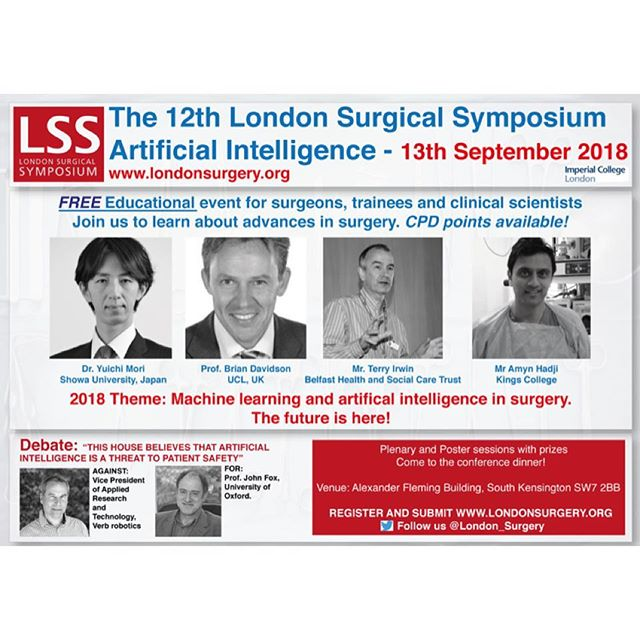 The 2018 London Surgical Symposium line up has been announced! Join us in London on September 13th 2018 and share your work. Submit your abstract now at www.londonsurgery.org #surgery #artificialintelligence #AI #ML #medicine #research #health #medschool #training #frcs #mrcs #MD #innovation #bariatricsurgery #surgerynurse #colorectalsurgery #vascular #surgerylife #topsurgery #kneesurgery #LSS2018