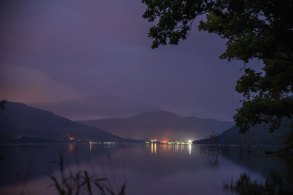 Loch Lomond by night.   Loch Lomond, Scotland.