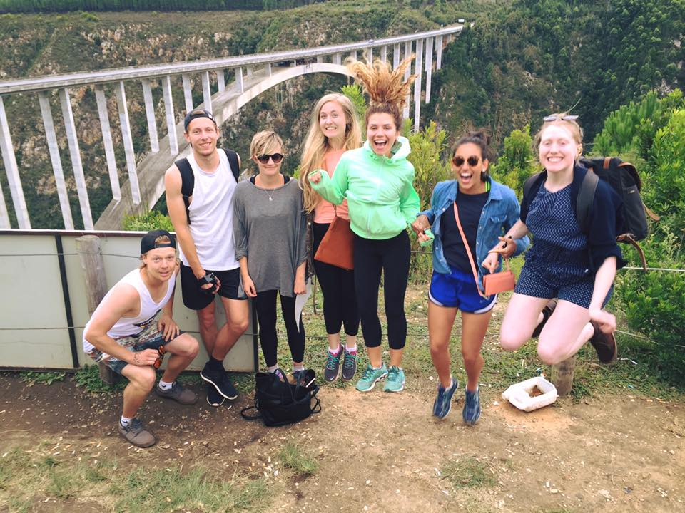 Group of friends after jumping off the Bloukrans bridge (pictured behind us)
