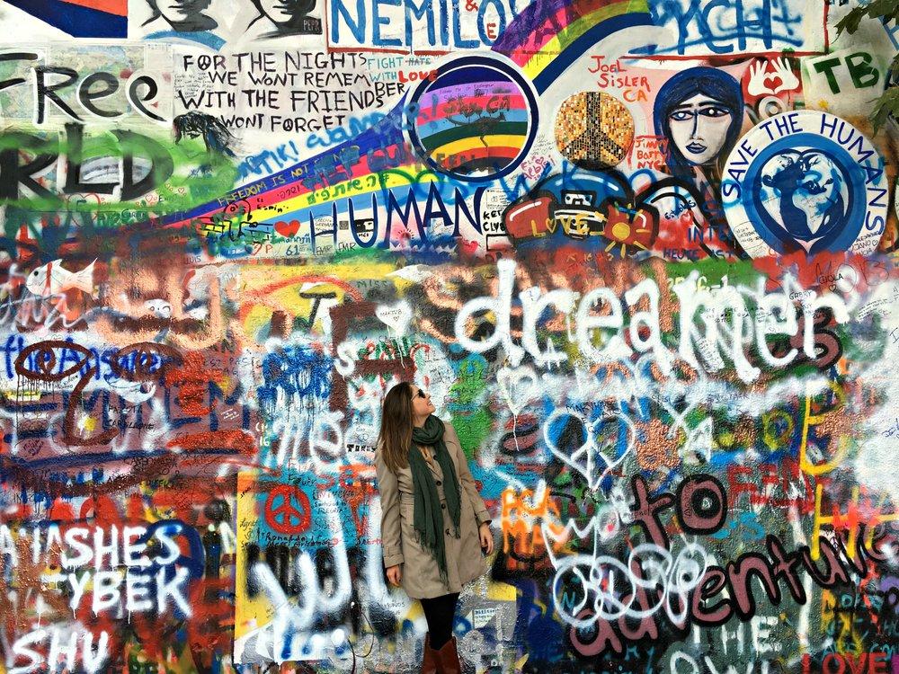 Dreaming at the John Lennon Wall in Prague