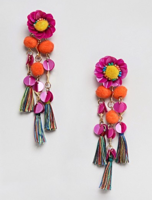 Sequin & Pom Flower Tassel Drop Earrings