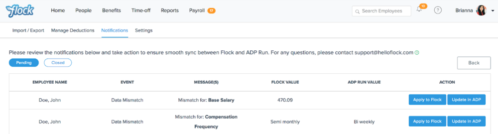 Flock Product Representation to showing your Payroll details on the Flock platform