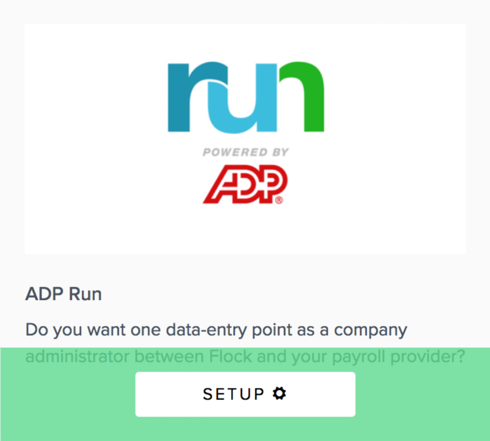 Flock Product Representation to setup ADP Run Payroll integration with Flock