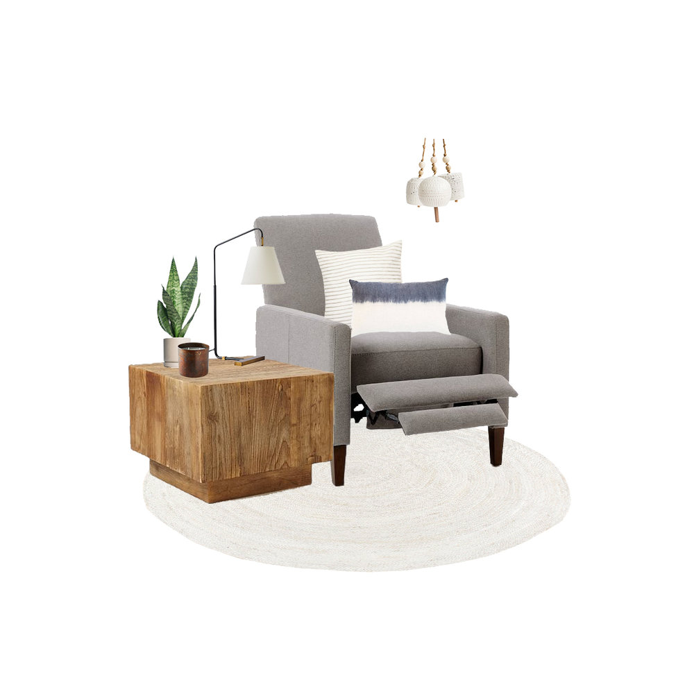 recliner  |  side table  |  lamp  |  rug  |  bells  |  candle  |  plant  |  stripe pillow  |  dip dye pillow
