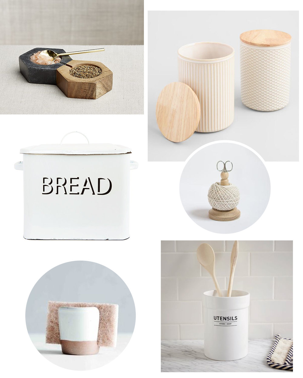 salt + pepper set  |  ceramic canisters  |  metal bread box  |  wood string tidy  |  sponge holder  |  utensil holder
