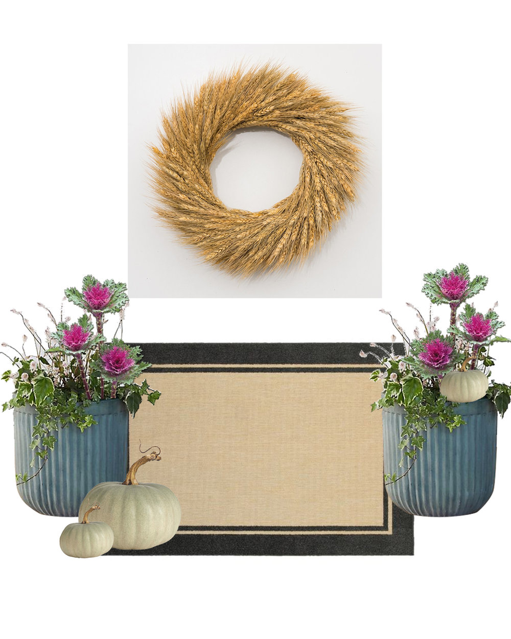 wreath  |  area rug  |  planters  |  ornamental kale image  |  pumpkins image