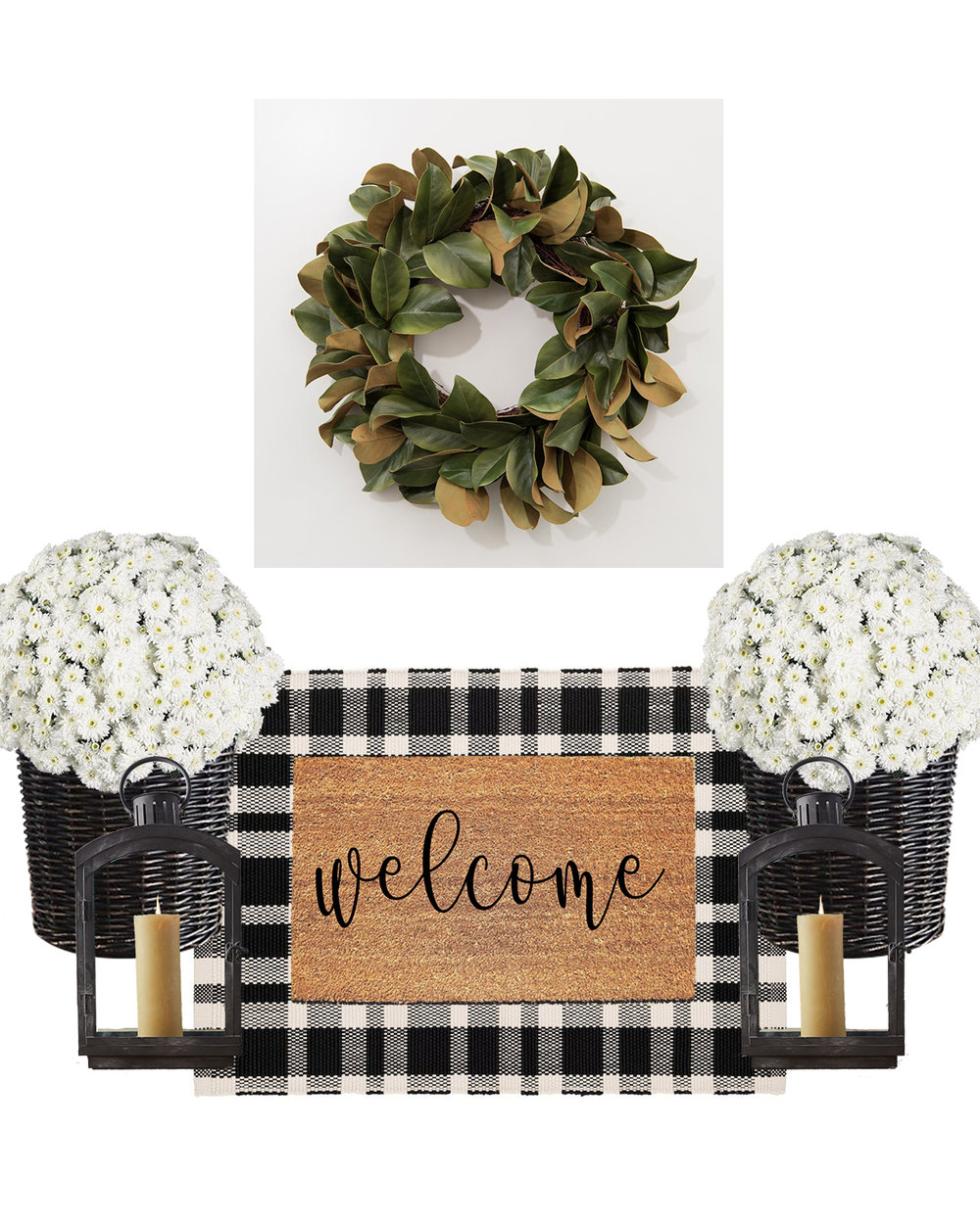 wreath  |  area rug  |  doormat  |  basket planters  |  lanterns  |  mums image