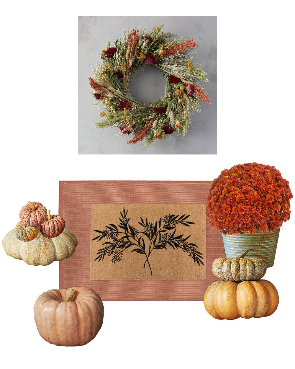 wreath  |  area rug  |  doormat  |  planter  |  mums image  |  pumpkin images