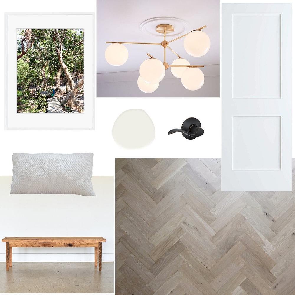 frame  |  light fixture  |  door  |  hardware  |  paint  | pillow is homemade |  bench  |  floors
