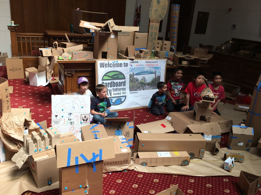 Some of the many #CardboardCity architects and their numerous creations.