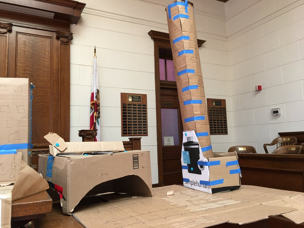 Cardboard City's airport, complete with hanger and watch tower.