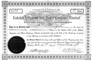 Water Certificate 1911