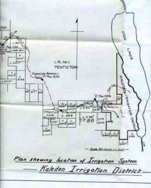 Map of Original Water System  Skaha was called 'Dog' Lake