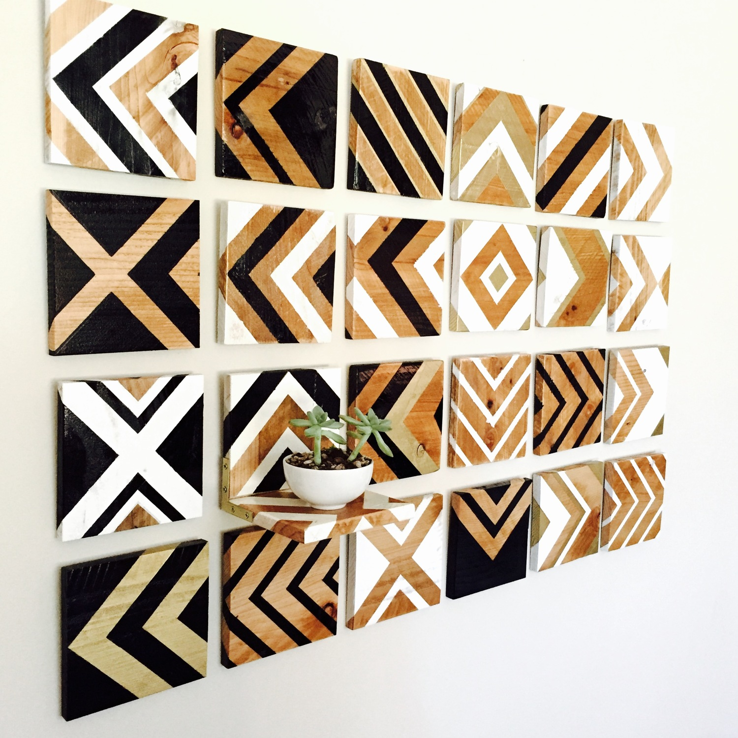 Wood wall art chevron series