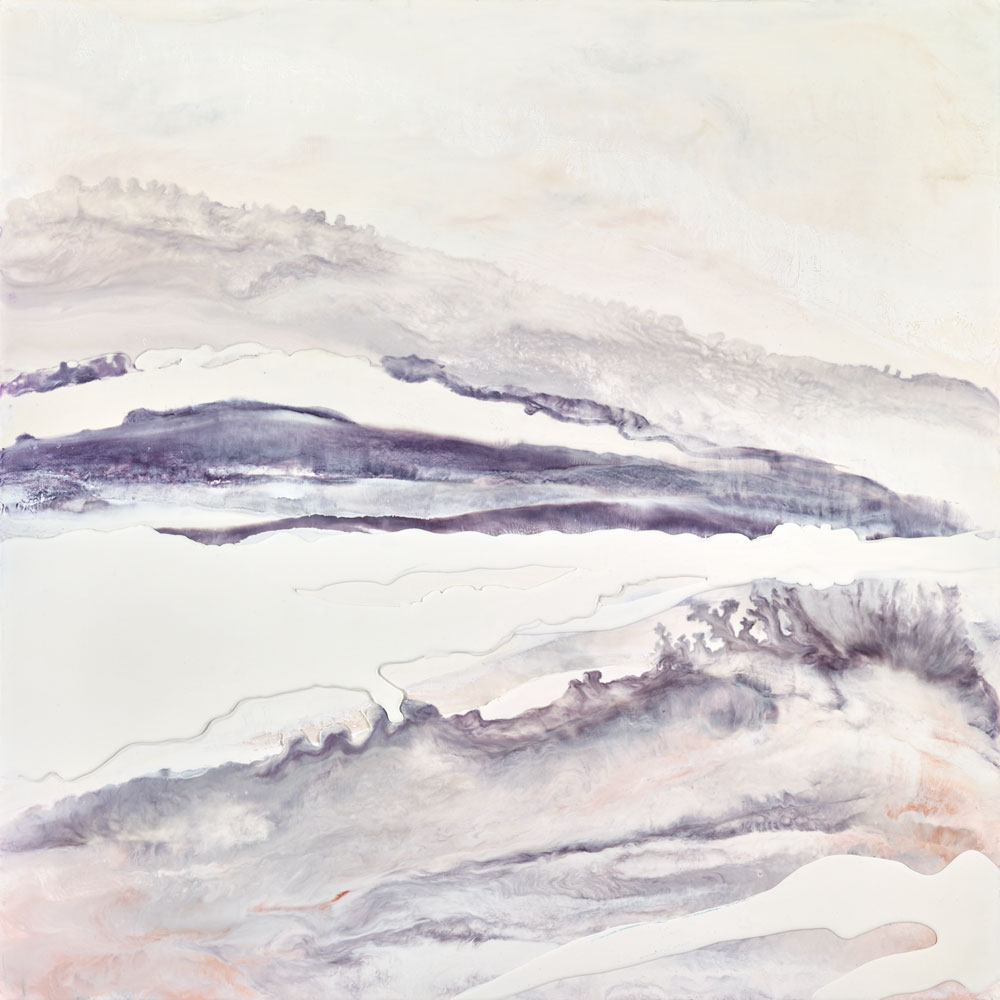 "Blushing Waters, 2015  Encaustic 36""x36""   SOLD"