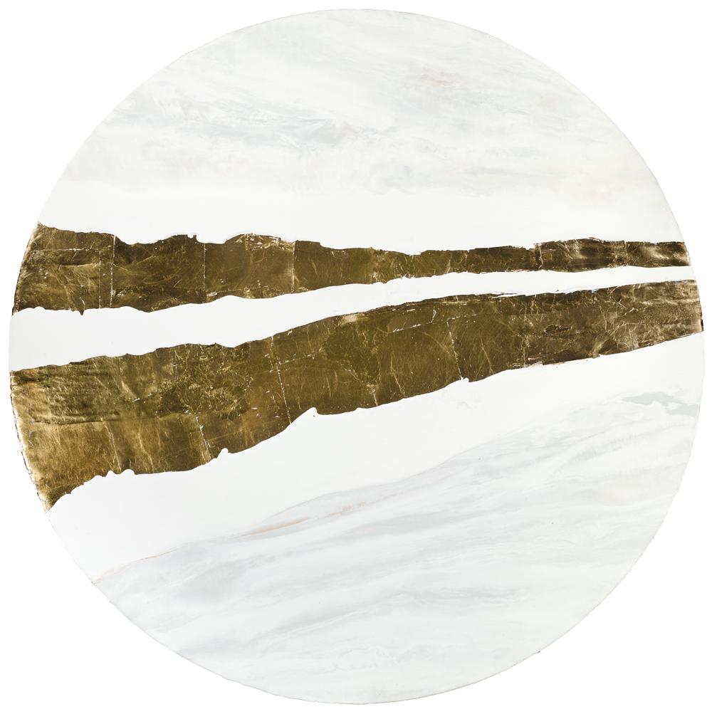 Golden River Through Our Mind, 2015 Encaustic and Gold Leaf 44'' Diameter sold