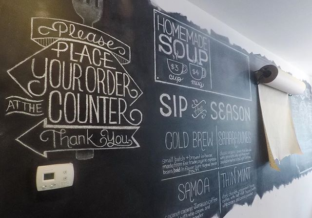 Just added a new journal post about our recent project with Iron Roost! We had the pleasure of working with them again, but this time we worked on their chalkboard wall! We made another #timelapse video for this project as well. Check out the link in our profile! #lettering #chalklettering #chalk #design #menu #ironroost #waffles