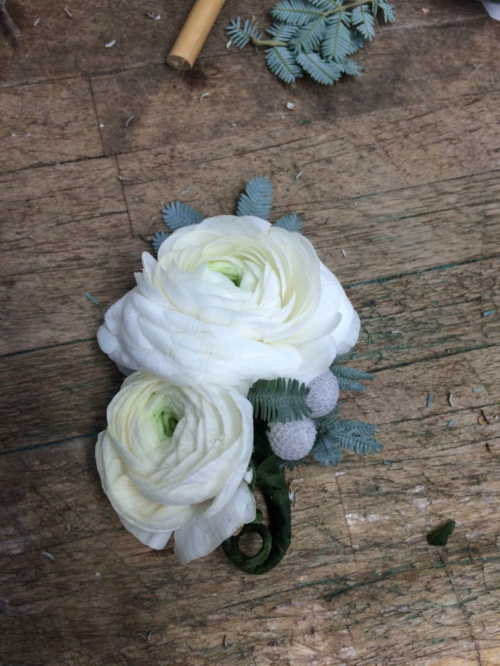 White Winter Boutonniere