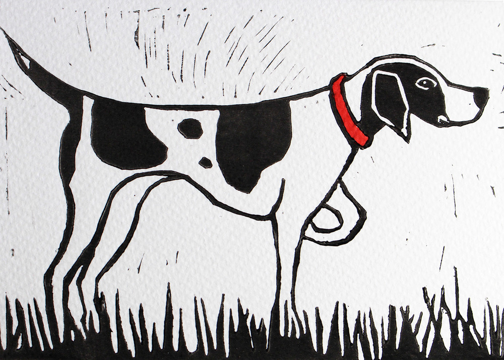 Linocut Dog Pointer Colour.jpg