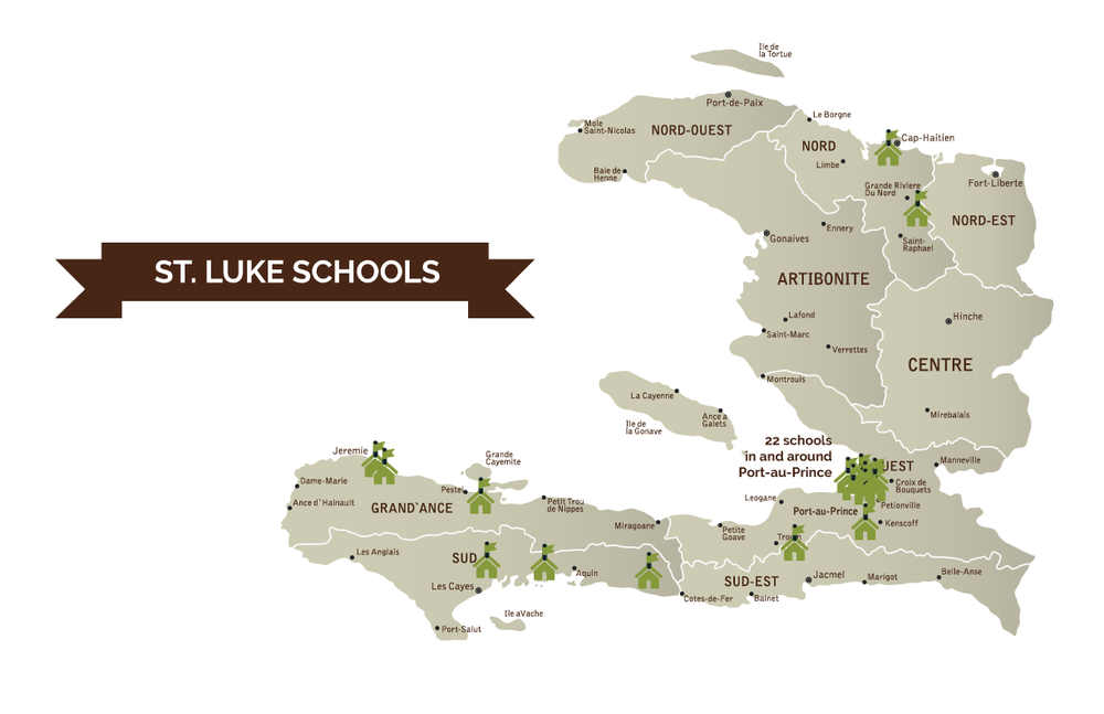 A map of St. Luke schools in Haiti.