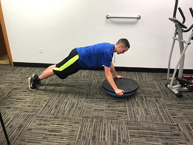 One of our patients working out on the Bosu Balance Trainer! Great exercise that targets a variety of muscles --  back, chest, triceps, & core 👍💪👊 #physicaltherapy #pt #physicaltherapynj #exercise #therapy #workout #workoutwednesday #wednesdayworkout #dpt #nutleynj #nutley #getpt1st #motivation #absoluterehab #northjersey