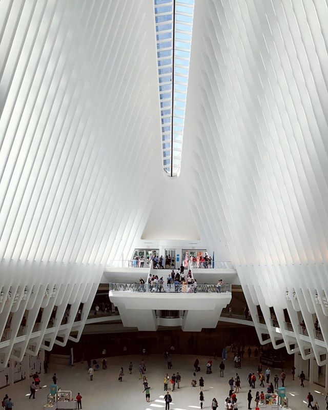 A space that is filled with so much movement, that inspires you to look up, that is so complex yet so simple - the Oculus.  Every year on September 11th, the Oculus' skylight opens up to reveal a strip of the sky at the exact time that the North Tower fell - 10:28 am. #911 #oculus #neverforget