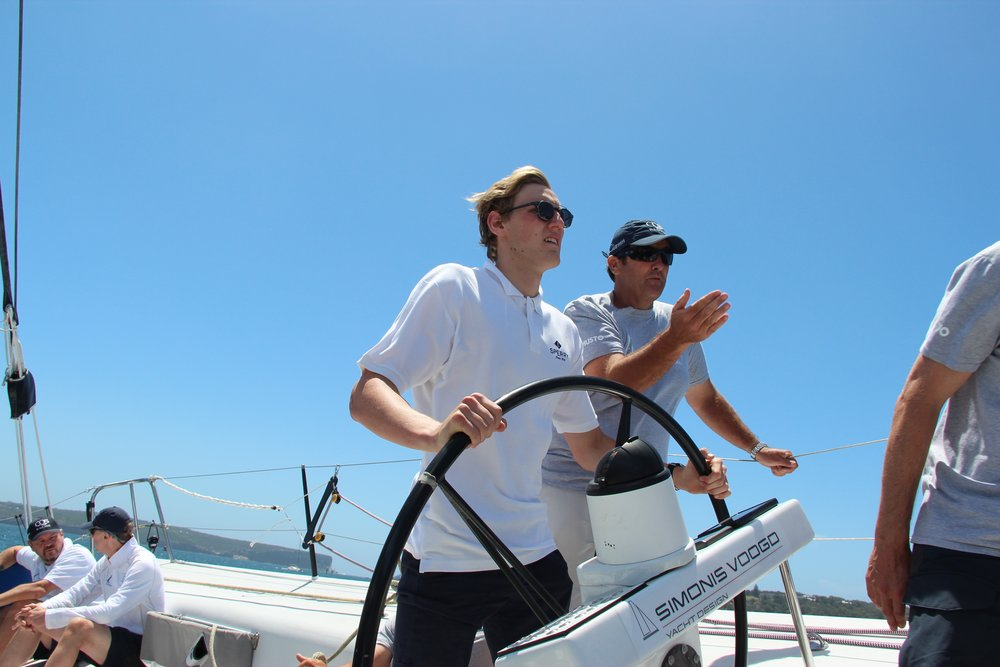 Mack Horton and Mark Beretta take CQS for a spin on Sydney Harbour