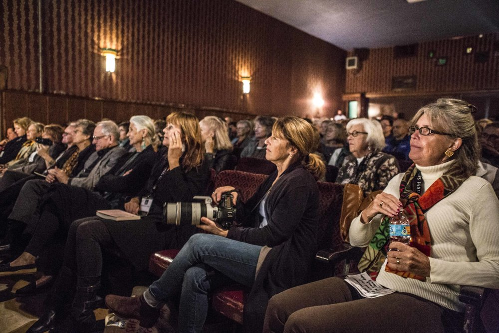 The audience at the Milford Theater during Gloria Steinem's conversation with Suzanne Braun Levine.  Photo by Charise Isis