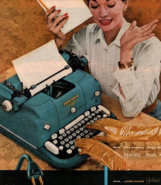 female at vintage typewriter