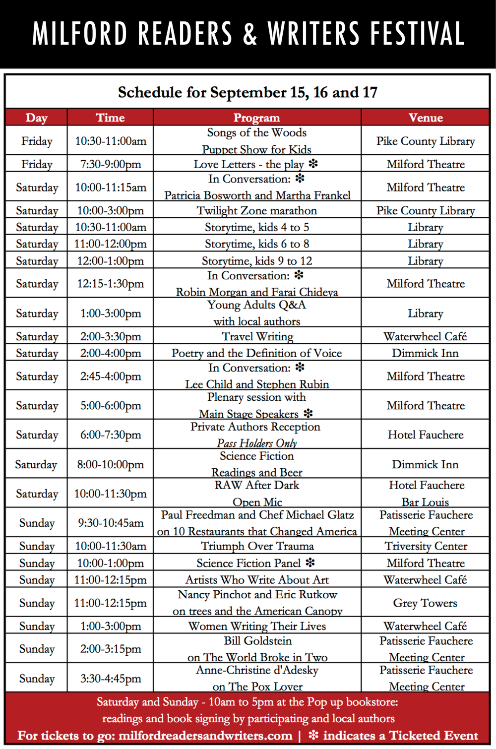 2017 schedule milford readers and writers