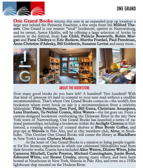One Grand pop up at milford readers and writers