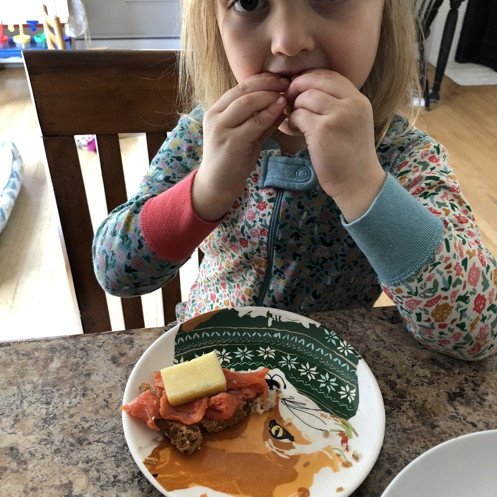 She requested all three items and put together an open-faced sandwich herself.