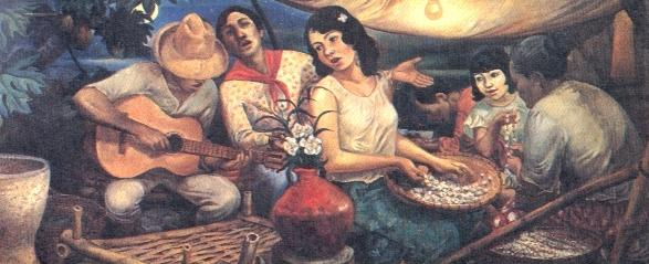 "N. Miranda Jr. captures a traditional courtship practice in his painting, ""Harana."""