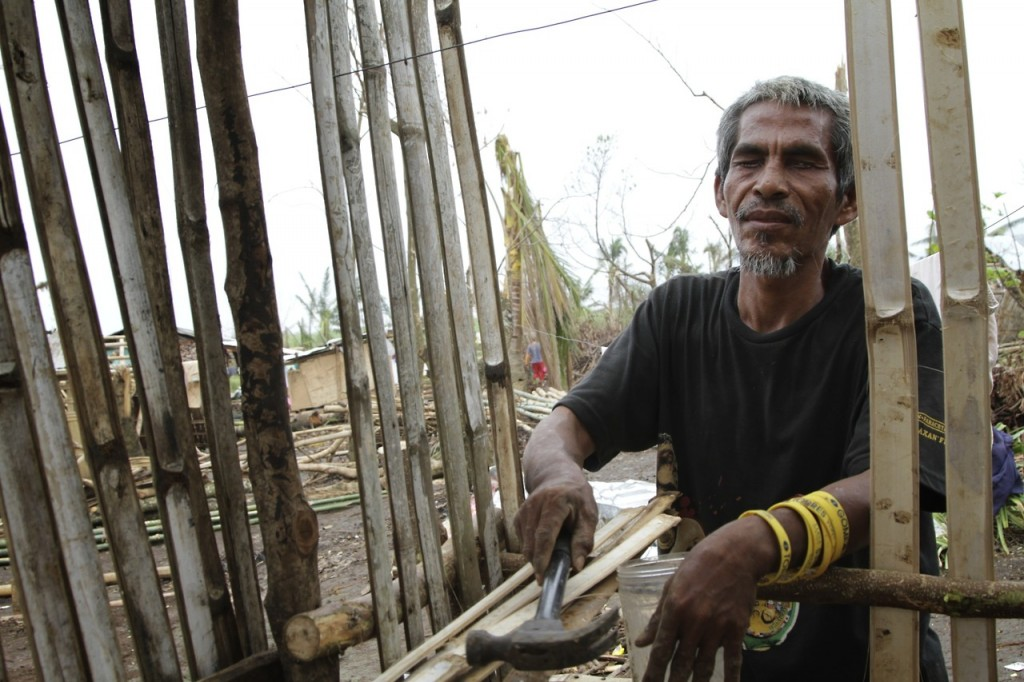 A blind carpenter who was rebuilding his own home after  Super Typhoon Yolanda.