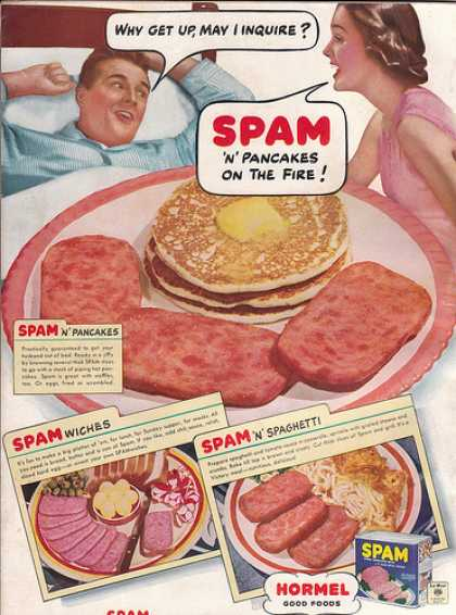 A Hormel advertisement from the 1940's showing Americans how many different meals they can make with SPAM.