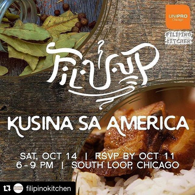 Join us this Saturday in Chicago for our second gastronomic event in the Fil-U-Up series. For tickets, see link in bio under events.  #Repost @filipinokitchen (@get_repost) ・・・ To continue our #filipinoamericanhistorymonth party - we will be collaborating with @unipronow #chicago for a night of food and storytelling - we will be serving 3 types of #adobo, dessert! For more info and tickets — http://www.unipronow.org/upcoming-events/fil-u-up-kusina #pinoyssuportingpinoys #chicago #fahm #fahm2017 #fanhs #fkadventures #popup #filipinokitchen #filipinofood #entrepinays #pinoyfood #events #unipro #filuup