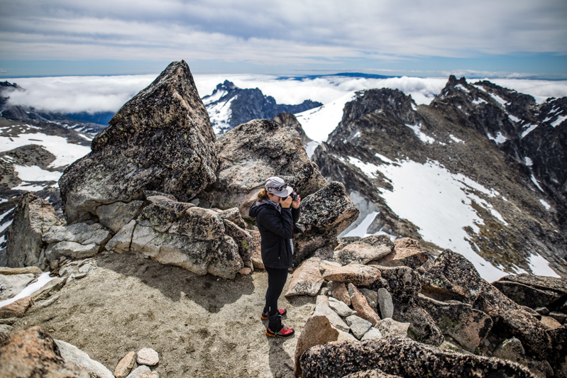 Jenn taking some shots from the summit of Dragontail Peak
