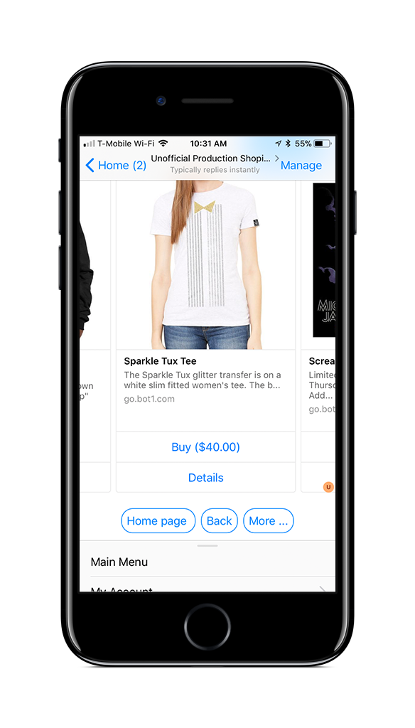 Browse Your Shopify Store from a Bot1 Messenger Bot