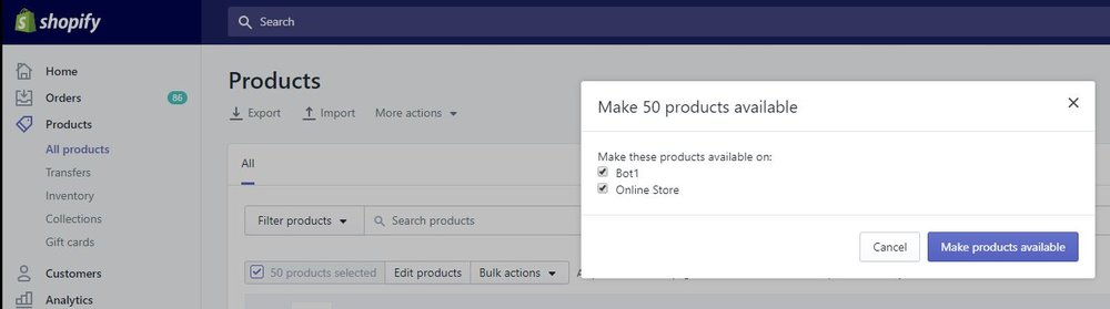 Make Products available to the Sales Channel App