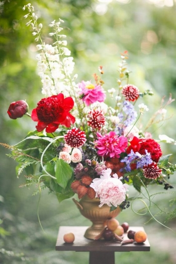 This medium sized urn arrangement roils with energy as scapes (flower buds of garlic) burst out of the sides. Peonies in deep red hover over small red and white dahlias. Dephinium adds a touch of blue and fruit and okra grace the table.