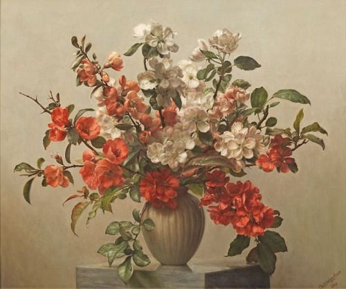 Artists have always captured the seasonality of plants. While this painting is of some of the first spring blooms- quince and flowering cherry, the colors are true to a later season. The impact of flowering branches at the peak of their season should not be missed.